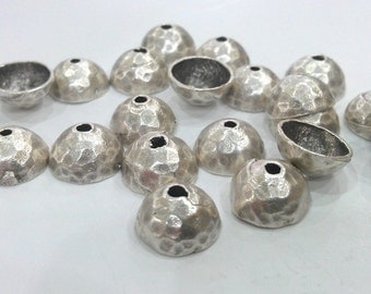 10 Silver Bead Cap Findings Antique Silver Plated Brass  G427
