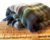 Classic Plaid Wool Throw Blanket, Everyday Use, Picnic Basket Blanket, Dark Blue Plaid w Forest Green, White and Yellow - KaiserVonVintage