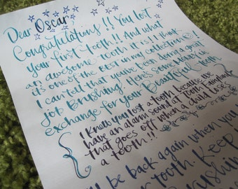 Personalized Tooth Fairy Letter in Calligraphy for Child's First Tooth