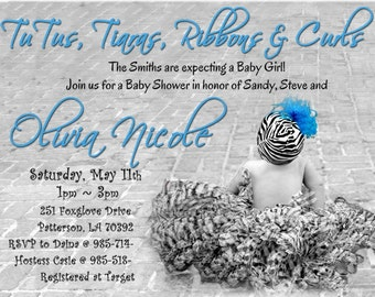 Zebra Print TUTU  and Baby Shower Invitations for a GIRL