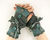 Knit fingerless gloves arm warmers fingerless mittens women grey teal blue tweed lace romantic victorian tagt team teamt