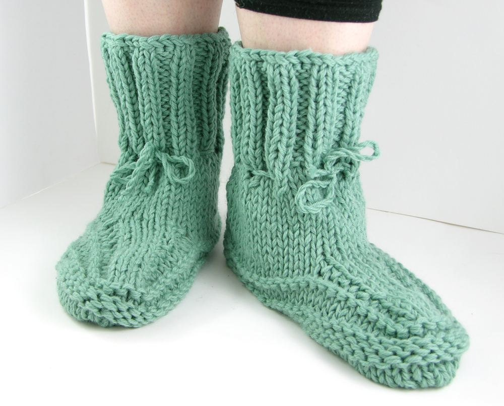 Knitting Women S Socks : Knit slipper socks women light teal