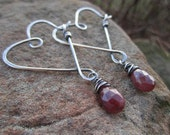 Sterling Silver Heart Earrings with Dangling Faceted Genuine Ruby