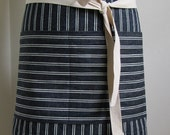 Half Apron Woman Man  Japanese Denim Apron   Indigo White Stripes  Server apron  Custom apron