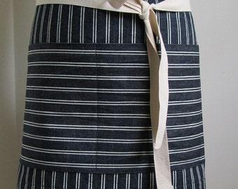 Half Apron Woman Man  Japanese Denim Apron   Indigo White Stripes  Server apron  Custom apron