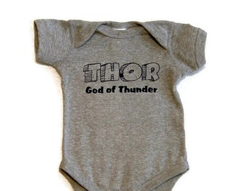 THOR Baby onesie Black Ink God of Thunder