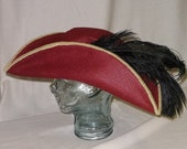 Red Pirate Hat- Classic Tricorn with Gold Trim and Black Feathers
