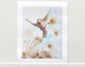 Winter garden, bird print from original watercolor painting, blue and brown