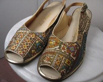 Peep Toe Sling Back Casual Wedge Shoes 1960s 10 N