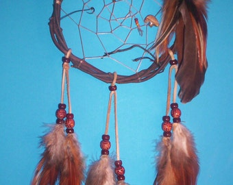 Native American inspired Dream Catcher 6-216, Chicken Feathers, Glass/Wood Beads, Picture Jasper Bear