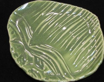 GREEN - Pottery Soap Dishes, Trinket Tray, spoon rest