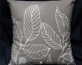 Contemporary Pillow Cover - Scandinavian Leaves - Taupe Grey and White - Clearance 70% OFF