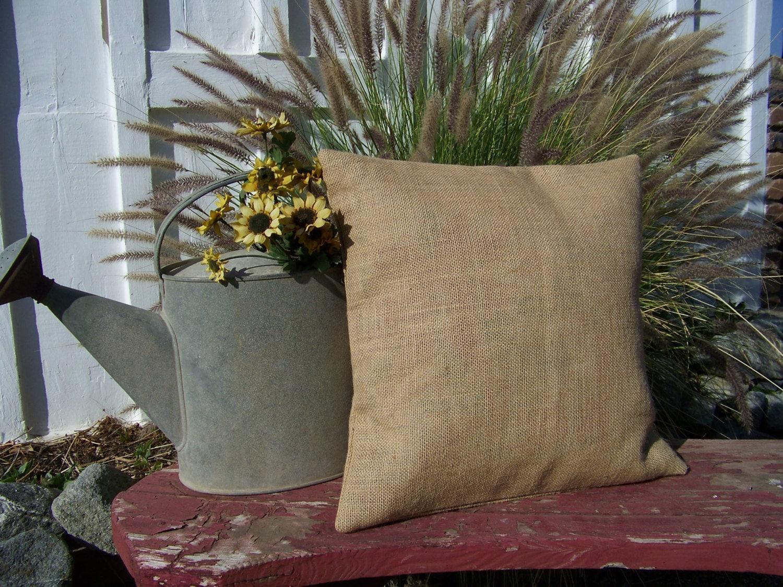 Throw Pillow Covers Farmhouse : 16 x16 Burlap pillow throw Decorative French Country Farmhouse