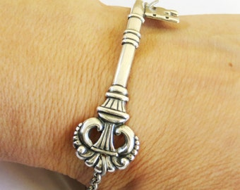 Steampunk Victorian Skeleton Key Bracelet- Sterling Silver Ox Finish- Alice in Wonderland Inspired