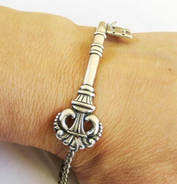 Steampunk Victorian Skeleton Key Bracelet- Sterling Silver Ox Finish- Alice in Wonderland Inspired
