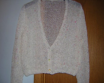 Hand Knitted Misses V Neck Lacey  Button Cardigan