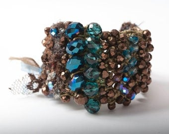 Crocheted,Beaded Bracelet in Blue,Brown,Beige