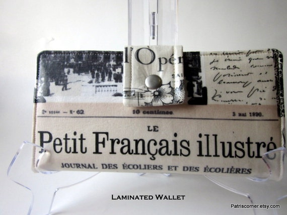 Handmade women laminated wallet Memories of Paris- red ID clear pocket - Ready to Ship
