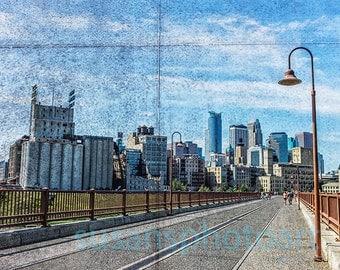 Stone Arch Bridge, Minneapolis, digital art photo, wall art, textured art, urban, cityscape, home decor, Minnesota art, office art, skyline