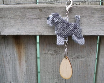 Miniature Schnauzer with natural ears & tail dog crate tag or hang anywhere, hanging needlepoint art, Magnet option