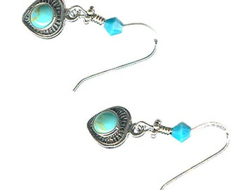 turquoise heart tiny sterling silver dangle earrings Austrian Swarovski crystal