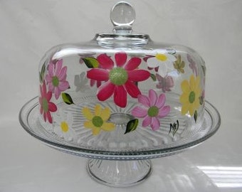 Cake dish-Hand painted cake dish-Painted Gerber daisies-Punch bowl-painted daisies-painted flowers-domec cake dish