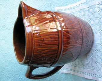 1920s McCoy Large Faux Bois Barrel Pitcher
