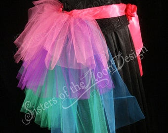 bustle tulle beautiful burlesque tie on costume bridal wedding formal party hot pink turquoise purple --One Size XS-XL -- SistersEnchanted