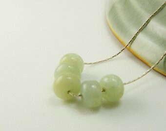 Moss Aquamarine Necklace /   March Birthstone  / Sterling  Silver  /  Natural Stone