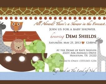 Noah's Ark Baby Shower Invitation - Birthday, Christening, Baby Shower, Personalized - Digital File