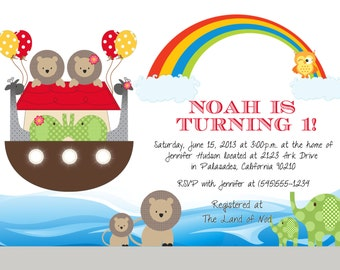 Personalized Noah's Ark Birthday Invitation - Noahs Ark Printables, Rainbow, Red, Blue, Yellow, Green, Birthday, Baby Shower