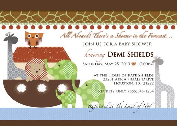 noah's ark baby shower invitation birthday christening, Baby shower invitations