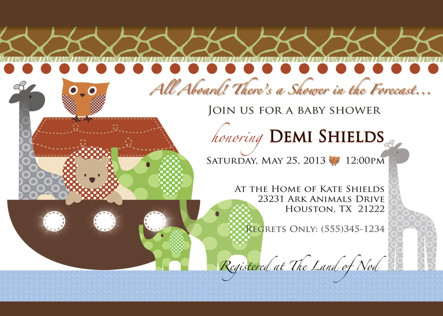 noah 39 s ark baby shower invitation birthday christening