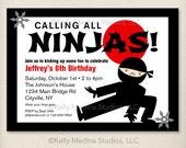 Custom Ninja Power Red Horizontal - Printable Digital Invitation - Personal Use Only