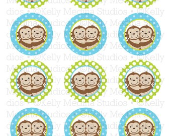 Monkey Twins Boy Blue and Green - 2 inch Circle Digital Printable Sheet - Personal Use for Cupcake Toppers, Paper Crafts and Products