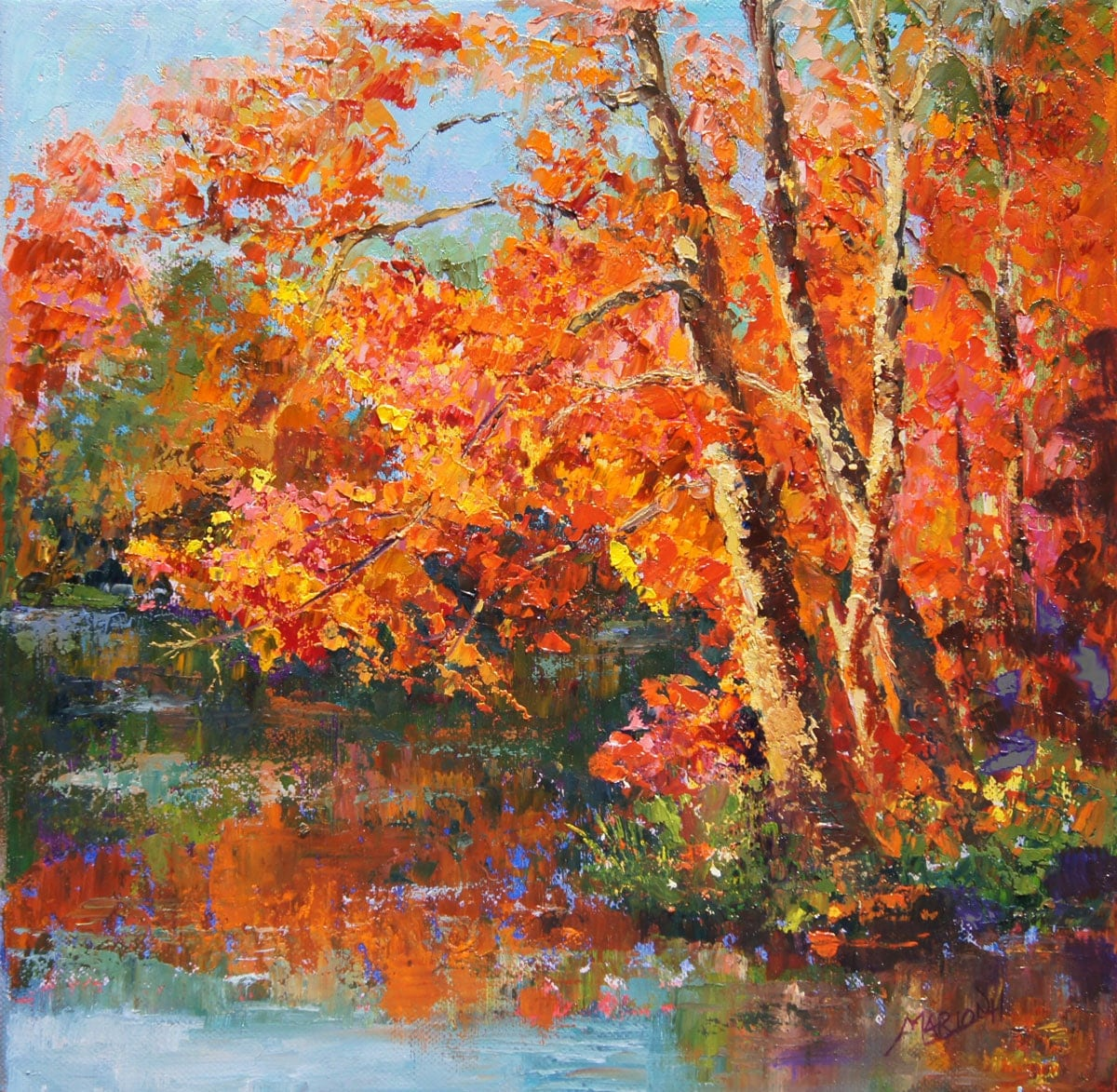 Autumn reflections impressionist landscape painting for Autumn tree painting