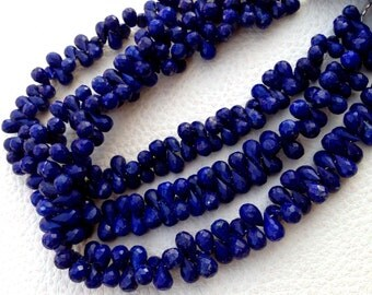 Full 8 Inch Strand,AAA Quality Lapis Lazuli Faceted Drops Briolettes,6-7mm size,Amazing Item at Low Price,Promotional Price
