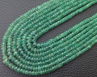Brand New, Full 3x16 Inch,100% NATURAL ZAMBIAN EMERALD, 3.5-4.5mm Faceted Rondelles Finest Quality Wholesale Price For Precious Rondelles