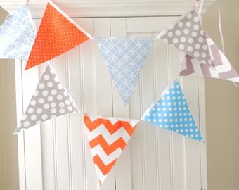 Banner, Bunting, Fabric Flags, Garland Orange, Grey, Light Blue Chevron, Polka Dots, Baby Boy Nursery Decor, Wedding, Birthday Garland