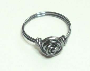 Love Knot Rose Grey (Gun Metal)  Wire Wrapped Ring Sizes 1-14