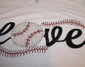 LOVE Glitter and Bling Baseball or Softball Shirt--Customized