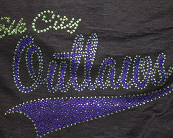 Custom Made Bling Sports Shirts--Done in colors to match your team