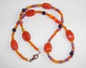 Orange Carnelian Necklace, Bohemian necklace, Colorful Jewelry, Carnelian Necklace, Pearl Necklace, Carnelian Chakra Stone