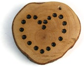 A Story Behind My Heart Wood Burned Ornament, Beaver Chew Wood Scrap, One Of A Kind Maple, Dots