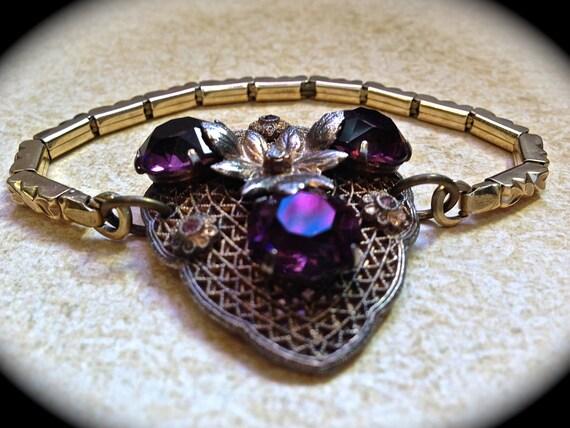 Purple rhinestone bracelet- Vintage Assemblage Bracelet- Watchband Bracelet- Purple Rhinestones- Vintage Jewelry- Vintage Bracelet