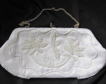White Beaded Bridal Evening Bag