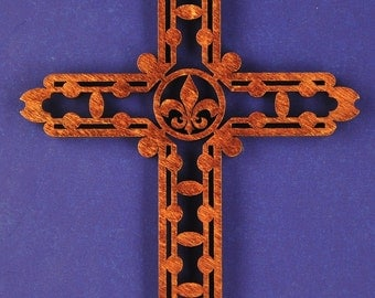 Large Fleur de Lis Wood Cross