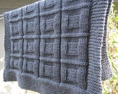 Knit baby blanket, throw, lap blanket (Grey color)