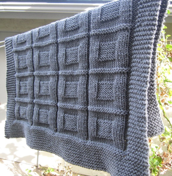 Knitted Lap Blanket Patterns : Knit baby blanket throw lap blanket Grey color