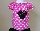 Personalized Disney Ruffle Peasant Dress Size 6 Months to Size 4T